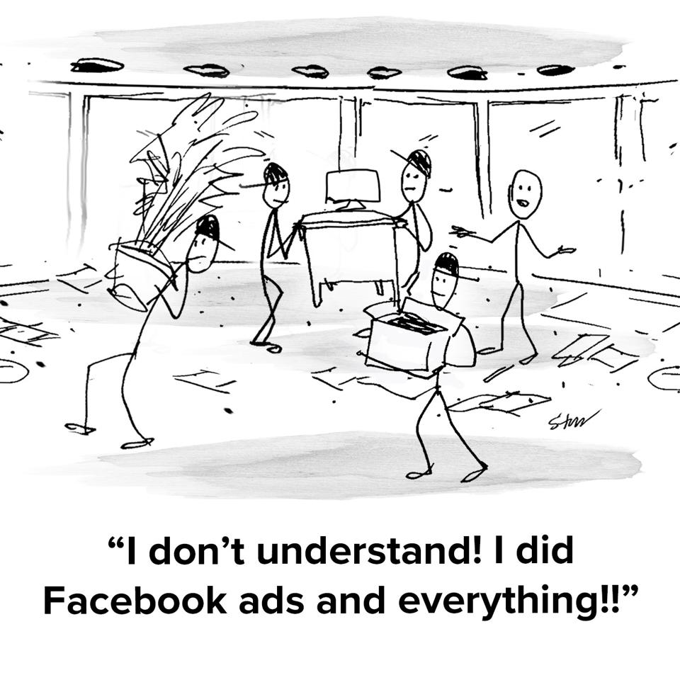 Someone's personal office being cleared out by repo men taking all his things and he's saying ″I don't understand! I did Facebook ads and everything!″