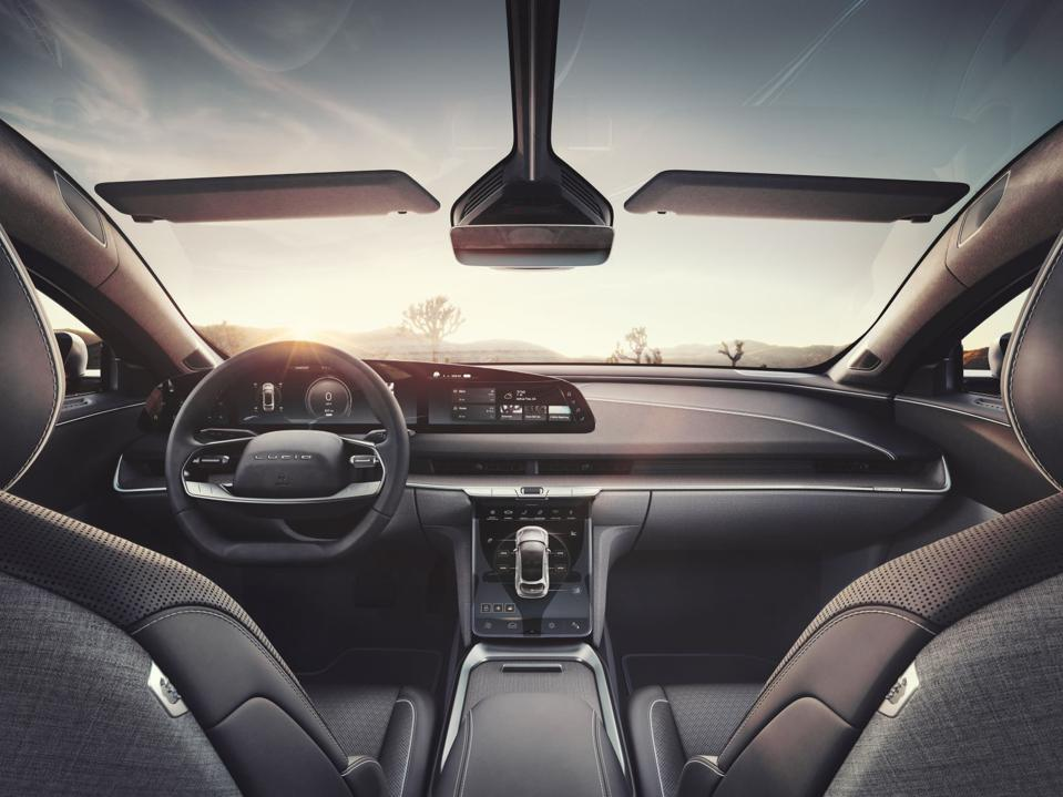 The cabin of the Lucid Air electric sedan