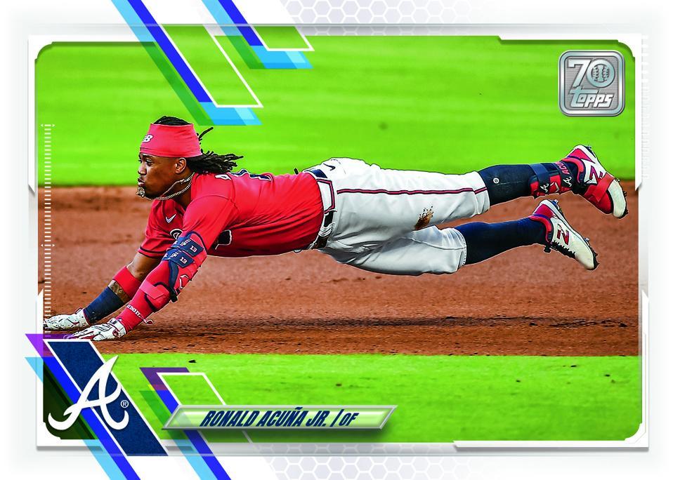 2021 Topps Series 1 Ronald Acuña Jr. baseball card.