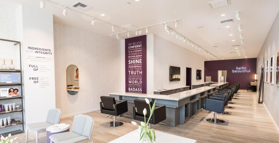"""Inside Madison Reed Color Bars. """"We've come to call it the 'un-salon',"""" says Errett. They did away with standing mirrors at every styling station, after customers said they actually disliked looking in the mirror while getting their hair wrapped in dye and foil. They preferred the big reveal at the end."""