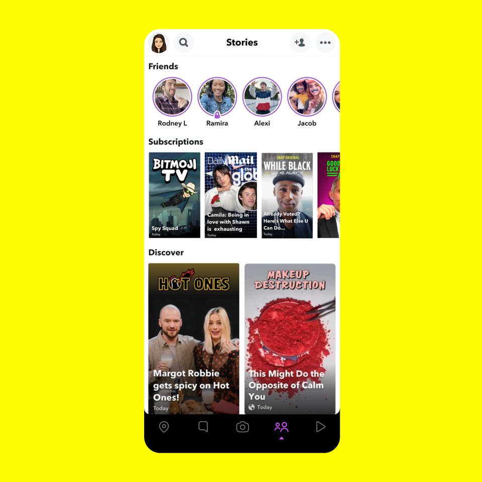 Screenshot of the Snapchat Spotlight app.