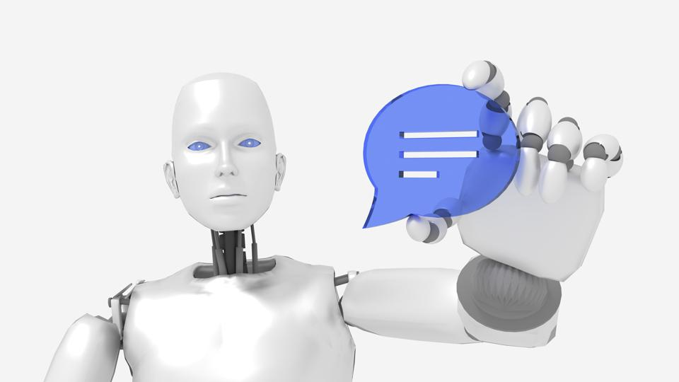 Chatbot female robot holding a speech bubble symbol