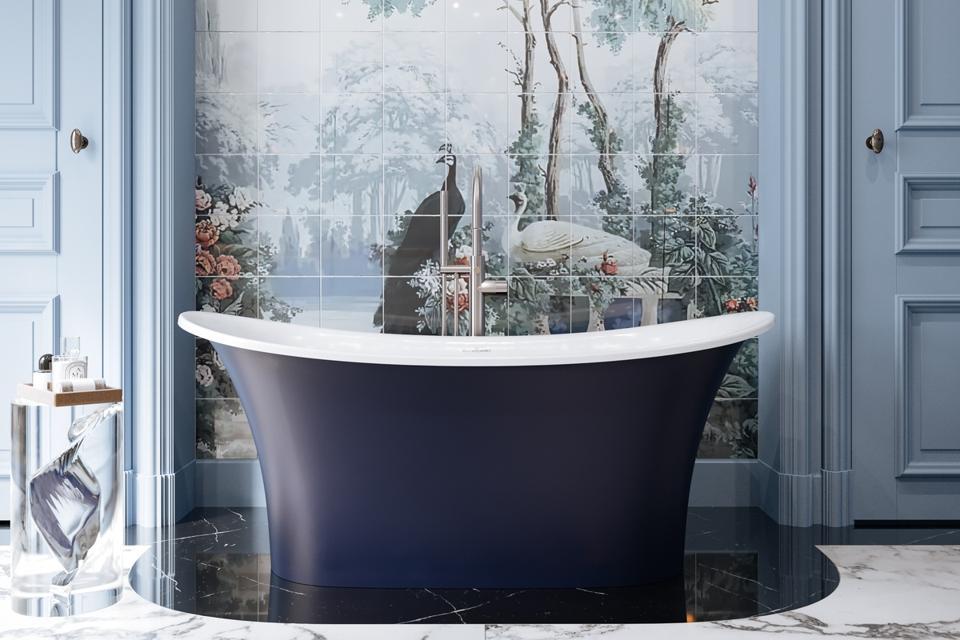 Blue freestanding bathtub from Victoria + Albert
