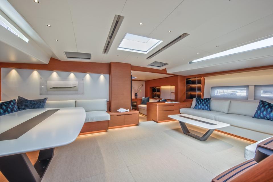 The main salon aboard the Morgana defines modern luxury.