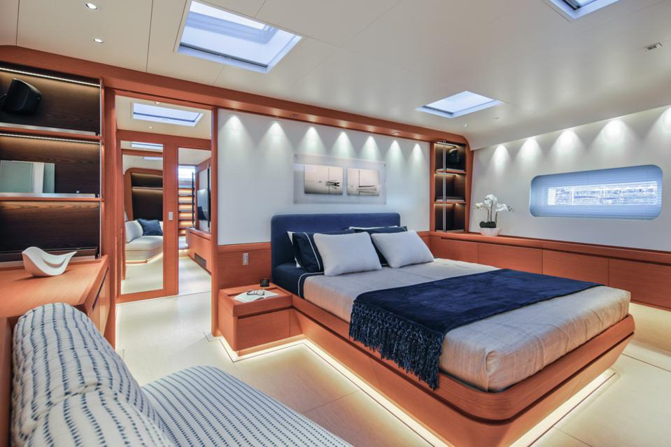 The spacious master suite onboard Morgana