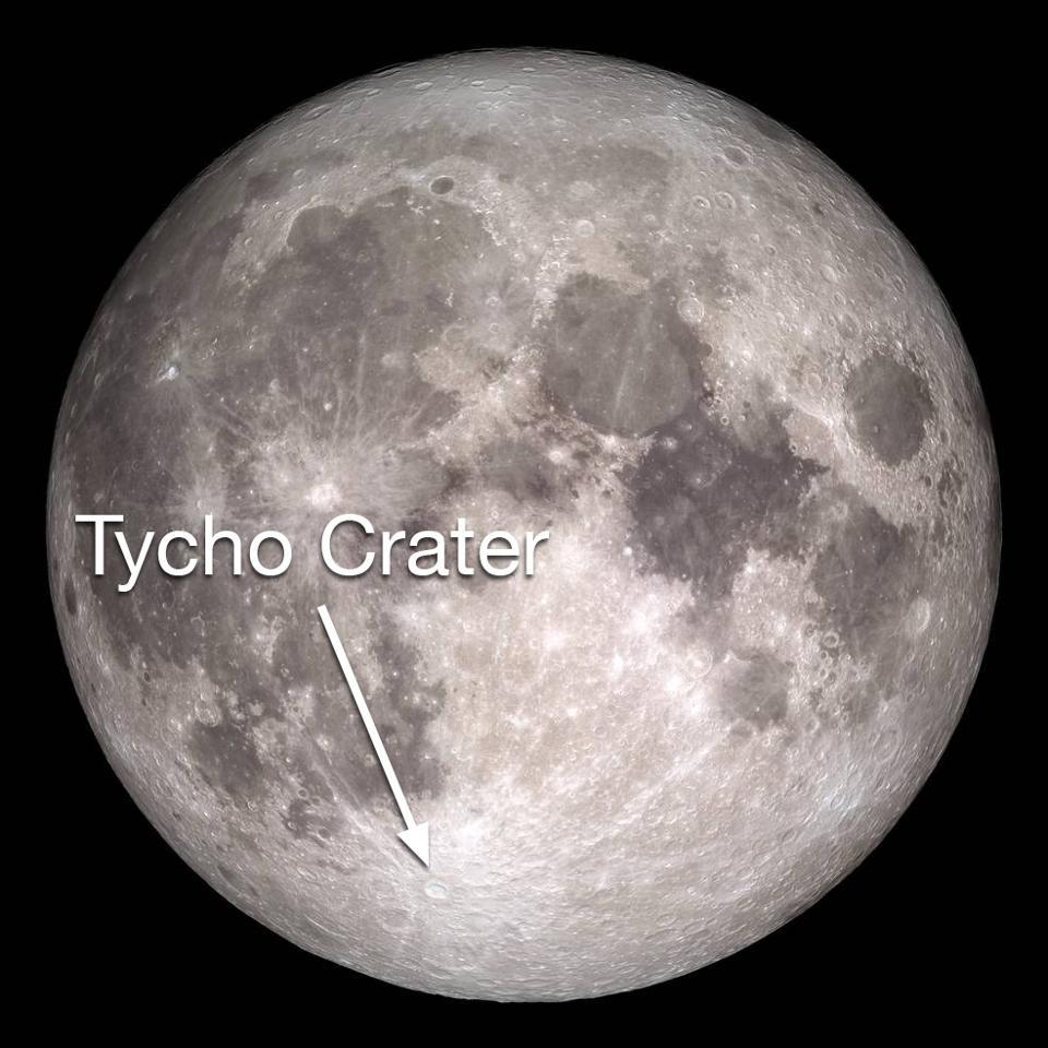 Tycho Crater es uno de los cráteres más prominentes de la luna.