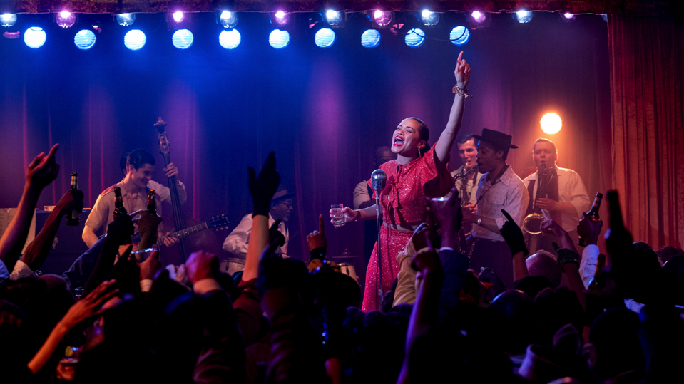 Andra Day singing in a scene from the film 'The United States vs. Billie Holiday'