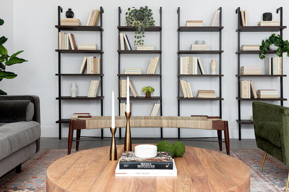 A coworking lounge with books