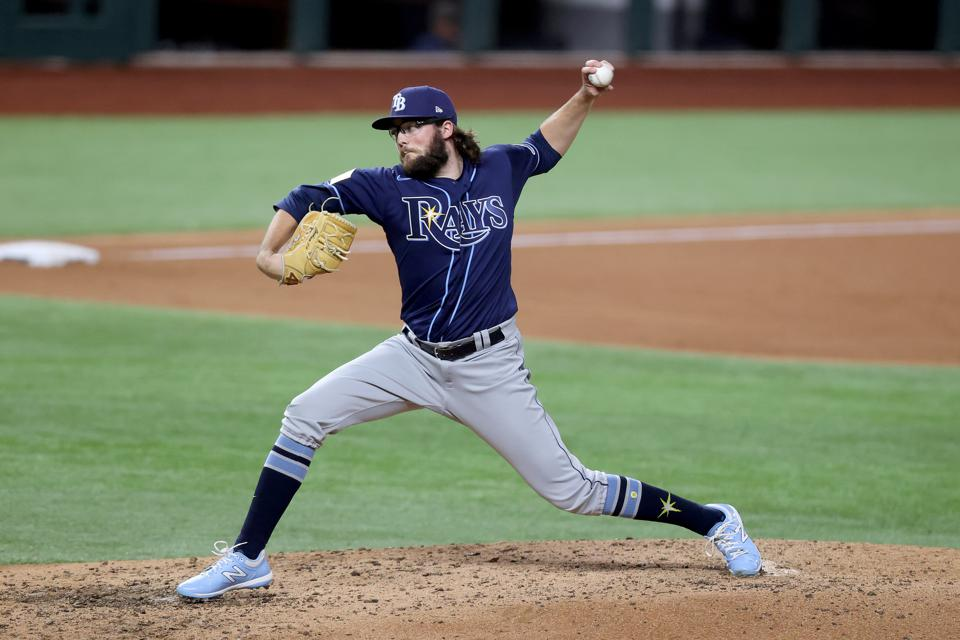 Josh Fleming pitches for the Rays against the Dodgers in the 2020 World Series.