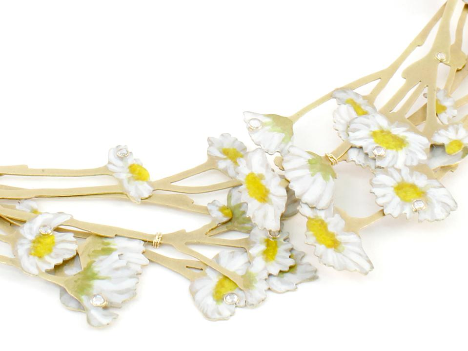 Natura Morta Daisy necklace, hand-painted 18k gold and diamonds, by Christopher Thompson-Royds