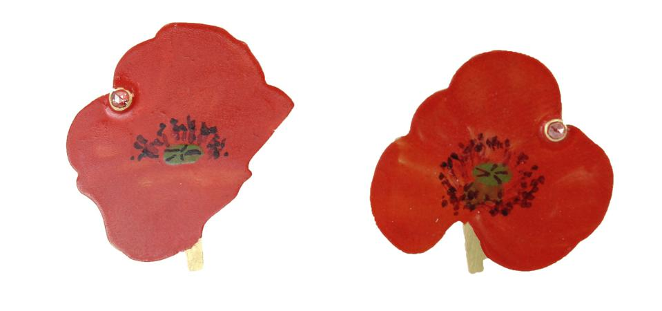 Natura Morta Poppy Earrings (post), hand-painted 18k gold with diamonds, by Christopher Thompson-Royds