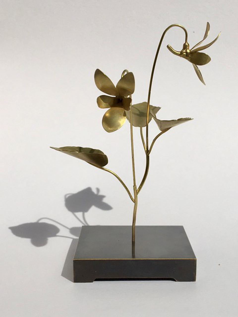 Against Nature: Violet Sculpture with Earrings, 2020 18k gold with patinated brass base, by Christopher Thompson-Royds