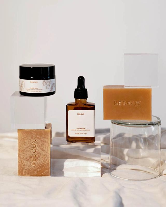 Redoux bar soaps and serums.