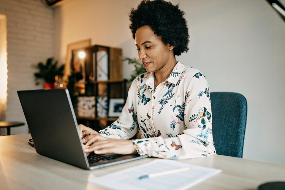 Busy business woman working from home