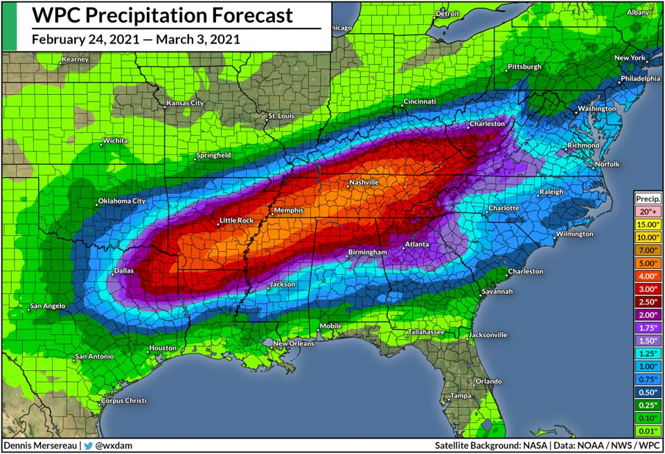 A map of the Weather Prediction Center's rain forecast between Feb. 24 and Mar. 3, 2021.
