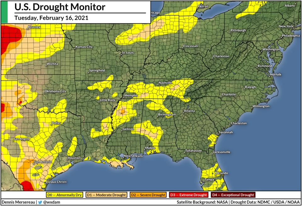 A map of the U.S. Drought Monitor over the southeast for February 16, 2021.