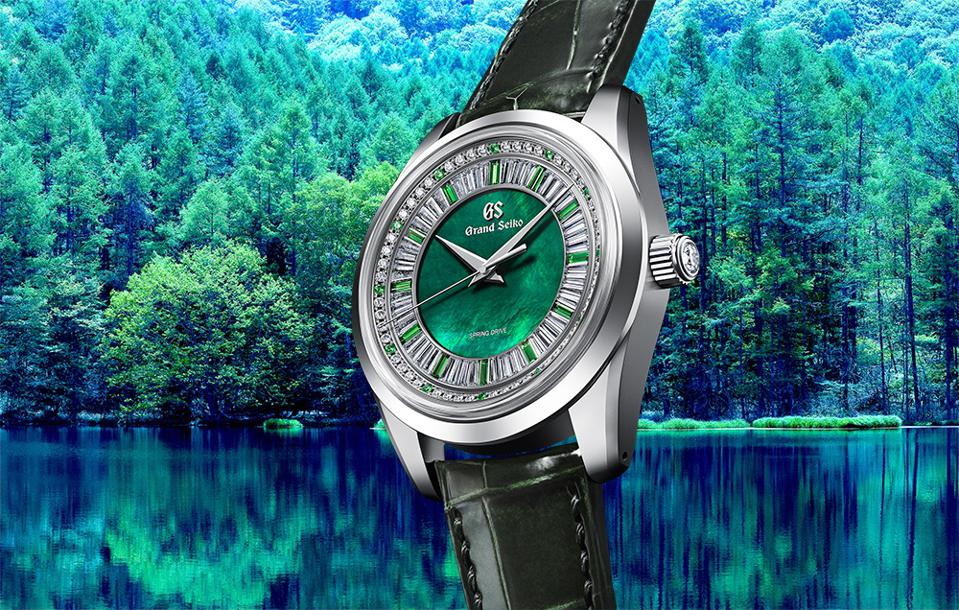 The Grand Seiko Masterpiece Spring Drive 8 Days Jewelry Watch, with green garnets and diamonds