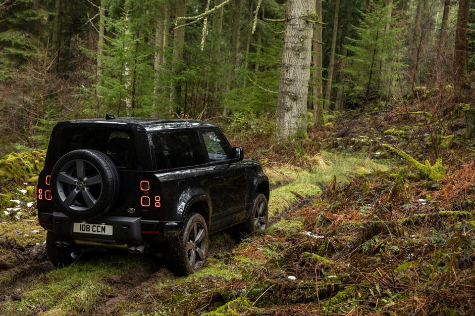 2022 Land Rover Defender in wooded area