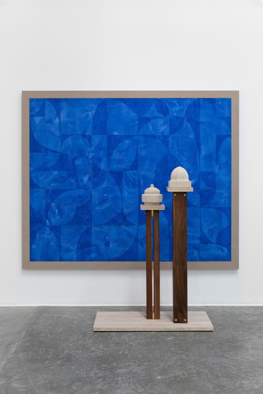 Kamrooz Aram, Elegy for Blue Architecture, 2019, lapis lazuli pigment / oil on linen, 175.3 x 213.4 x 3.8 cm. Sculpture: brass, walnut, travertine and aglay, dimensions variable