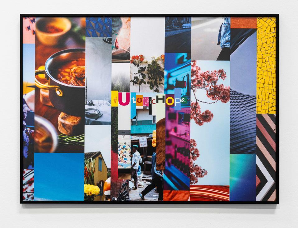 Alessandro Balteo-Yazbeck, #UtopicHope, 2018, paper collage on wood, 70 x 96 cm