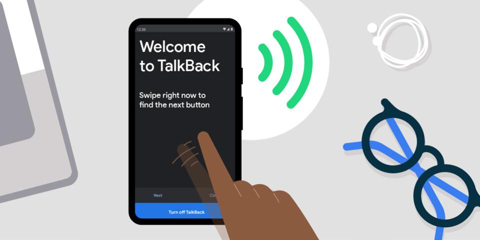 Animated image of a person using TalkBack on their phone