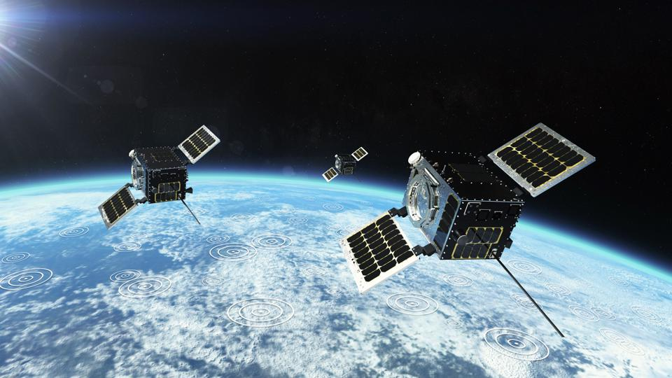An artist's rendering of a HawkEye 360 satellite cluster.