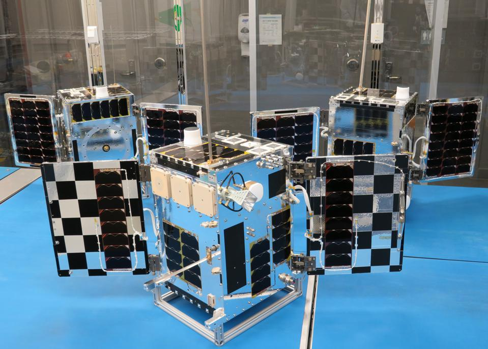 The three satellites of Hawkeye 360's cluster two prepped and ready for launch.