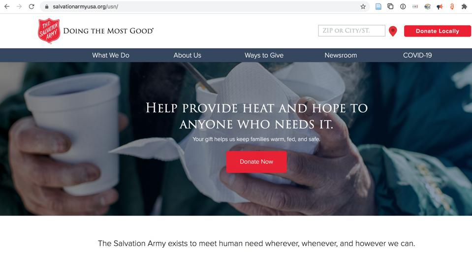 Screen shot of Salvation Army web site