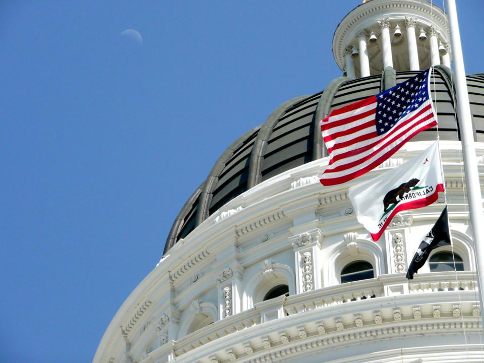 California Capitol Dome with Moon