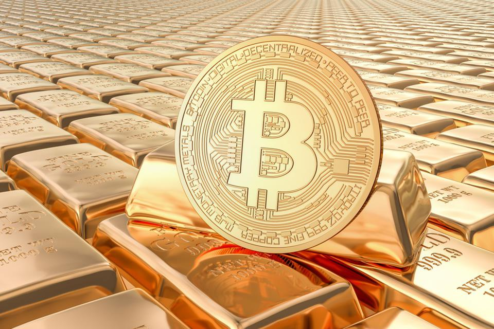 Gold ingots with bitcoin, 3D rendering