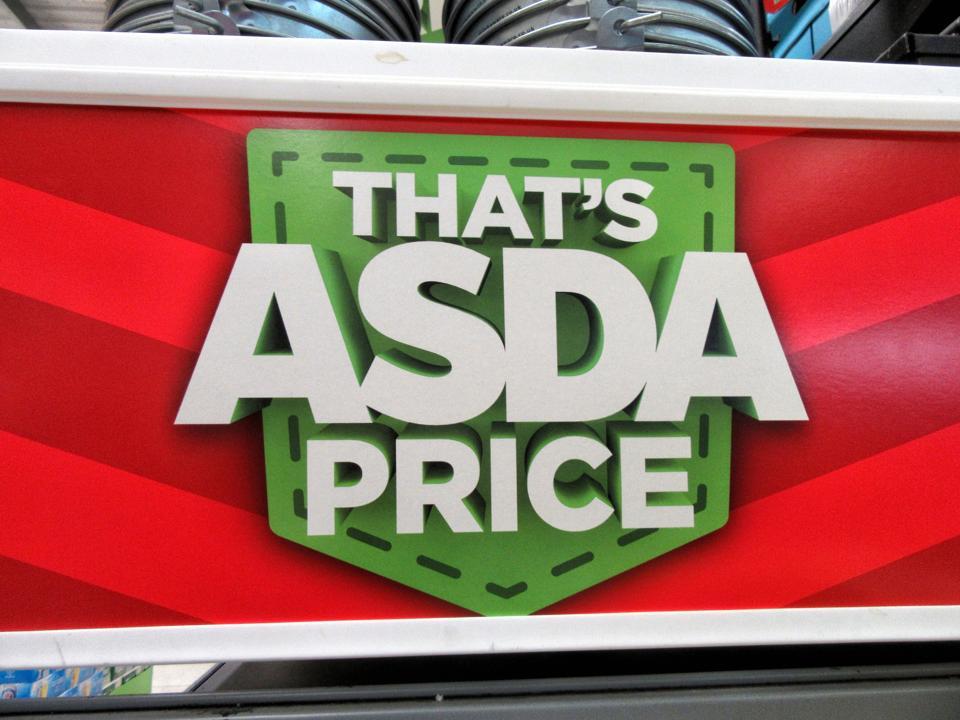 Asda's famous slogan 'thats Asda Price' is displayed inside...