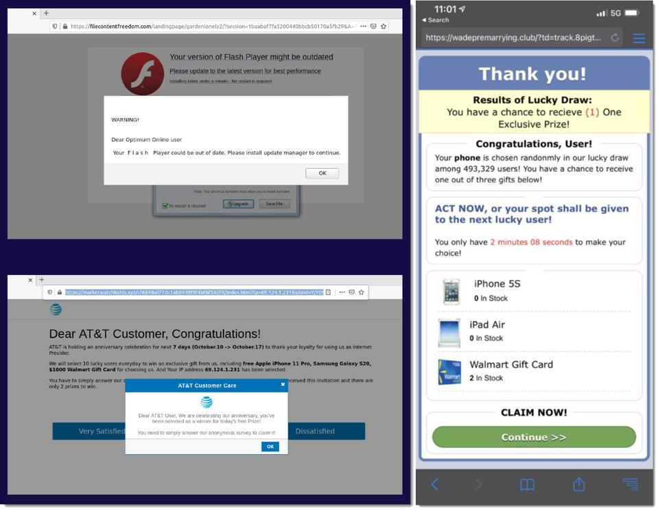 screen shots of tech support scams and sweepstakes scam