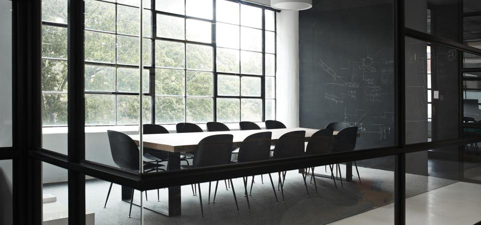 Modern conference room with chairs and table