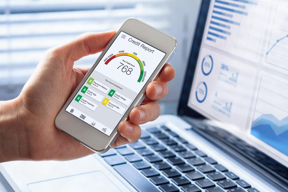 Credit Report with Score rating app on smartphone screen
