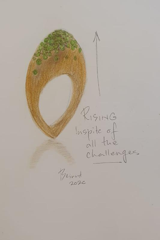 Nada Ghazal's design sketch for the Blast ring, created to mark the resilience shown by the people of Beirut after the 2020 explosion in the city's port.