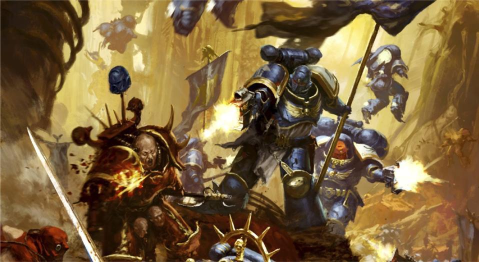 Warhammer 40,000, a sci-fi tabletop wargame.
