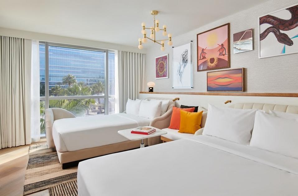 Gest room at the new Virgin Hotels Las Vegas