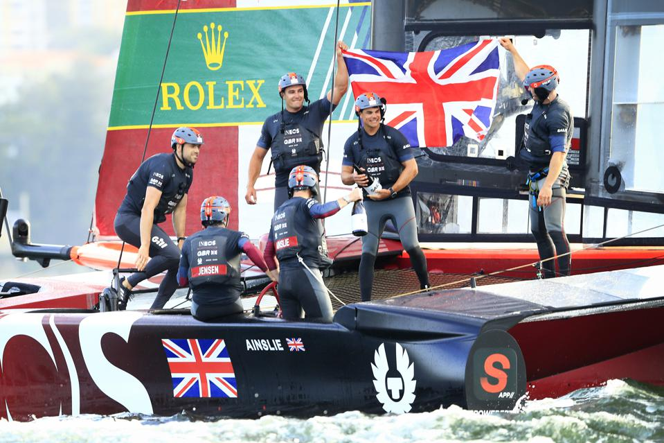The Great Britain SailGP Team celebrates victory on Sydney Harbour on February 29, 2020 in Sydney, Australia. The 2020 season was subsequently canceled due to the Covid-19 pandemic.
