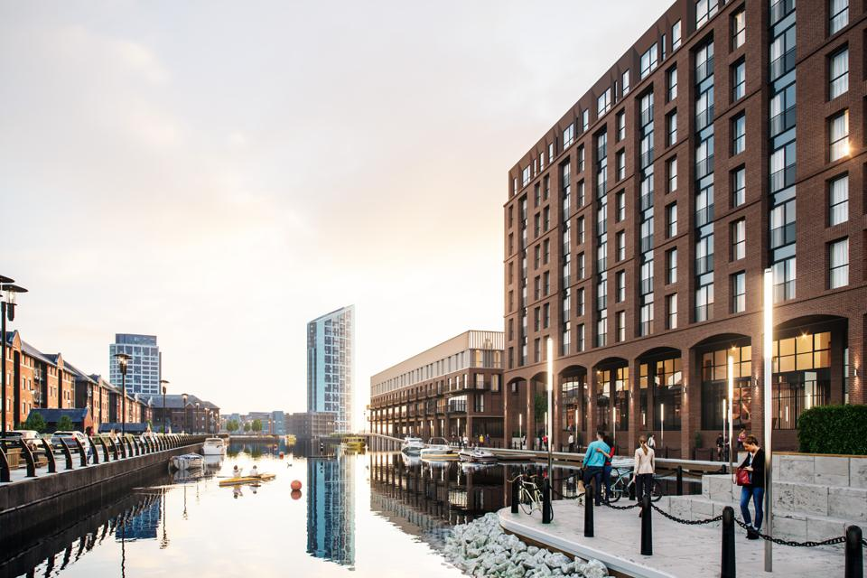 An illustration of a new property development on Liverpool's waterfront