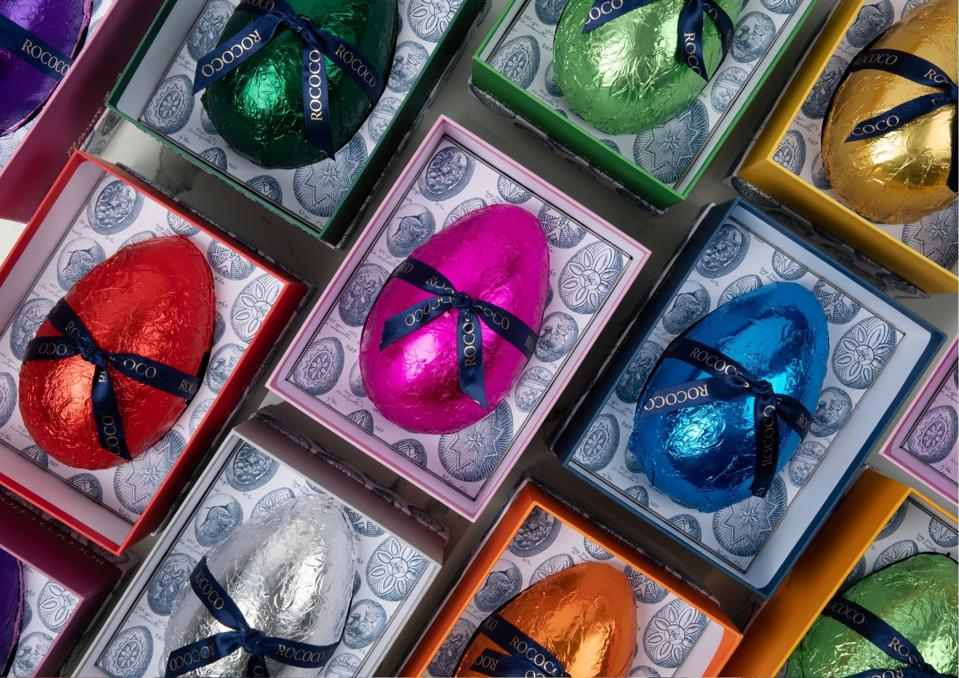 easter eggs in colorful foil