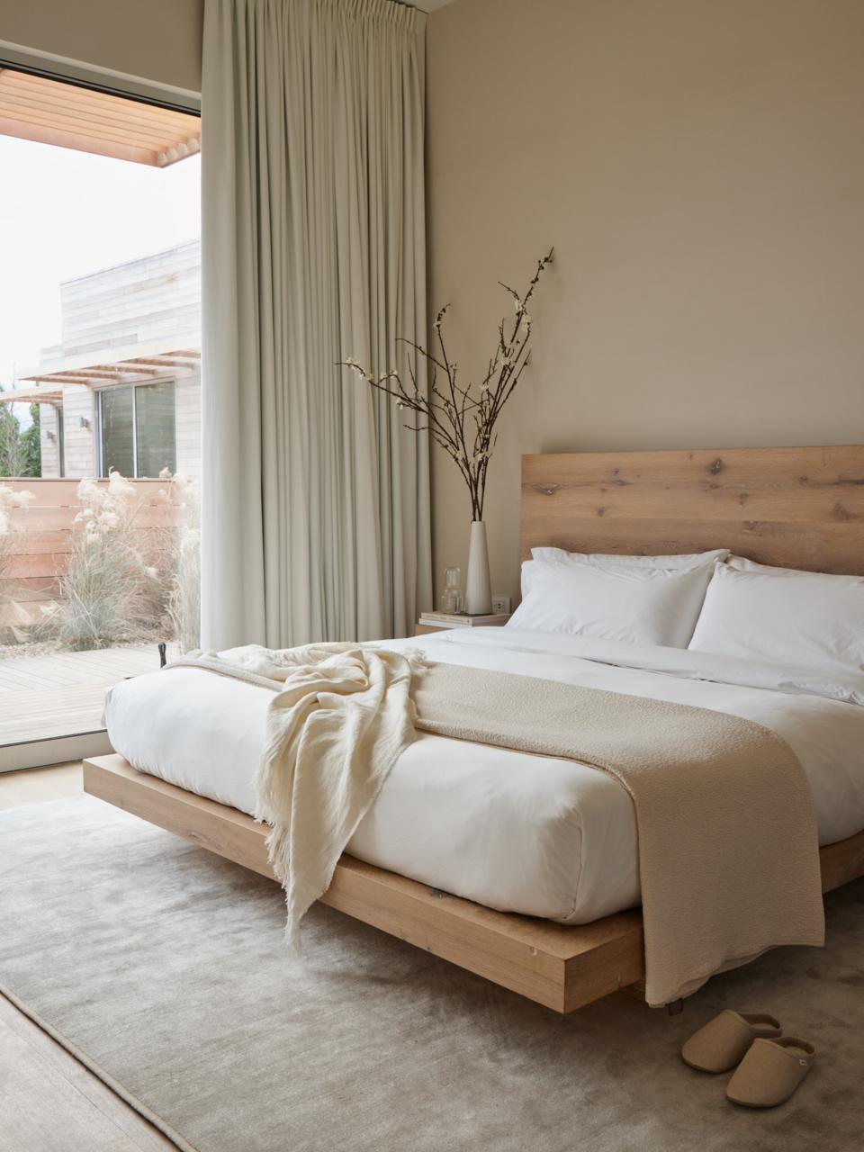 A guest room at Shou Sugi Ban House.