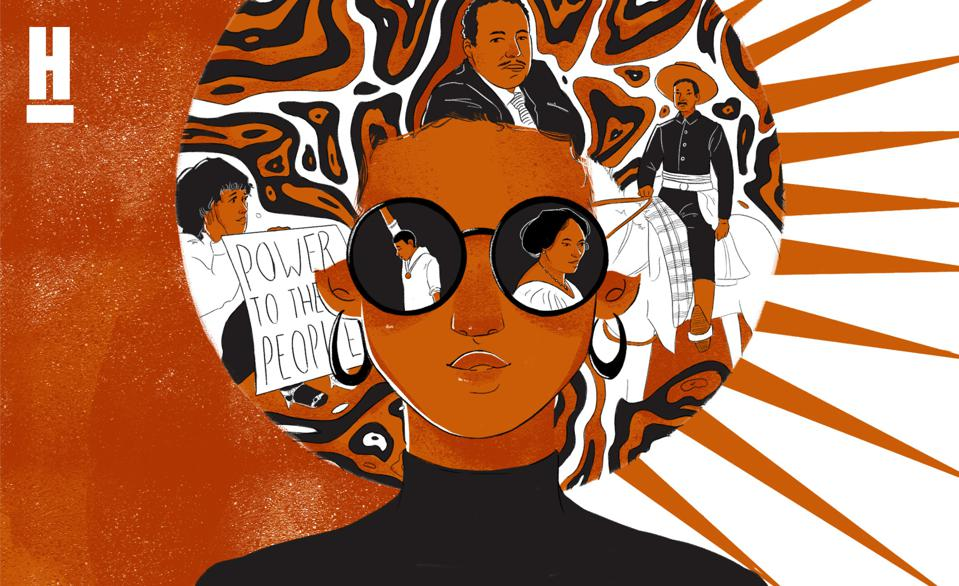 Artwork of a BIPOC woman and historical figures.
