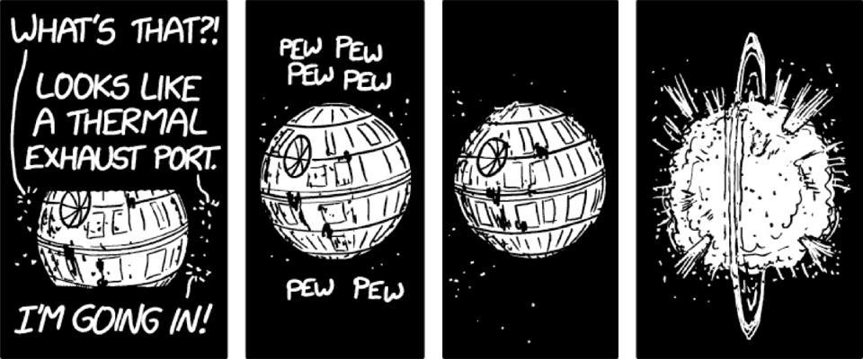 Starfighters destroy the fake Death Star.
