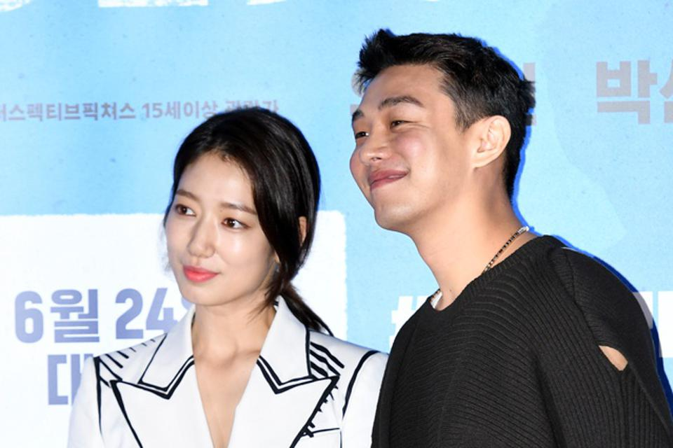 Park Shin-Hye and Yoo Ah-In during the press conference of Korean movie '#Alive' in Seoul, South Korea. The film screened in domestic theaters before being released globally on Netflix.