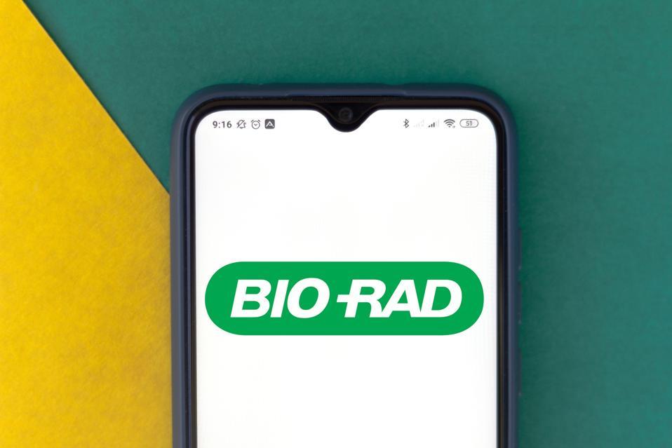 In this photo illustration the Bio-Rad Laboratories logo...