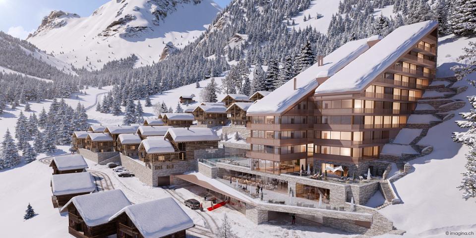 rendering of Guernerés Exclusive Lodge in Grimentz resort ski development switzerland