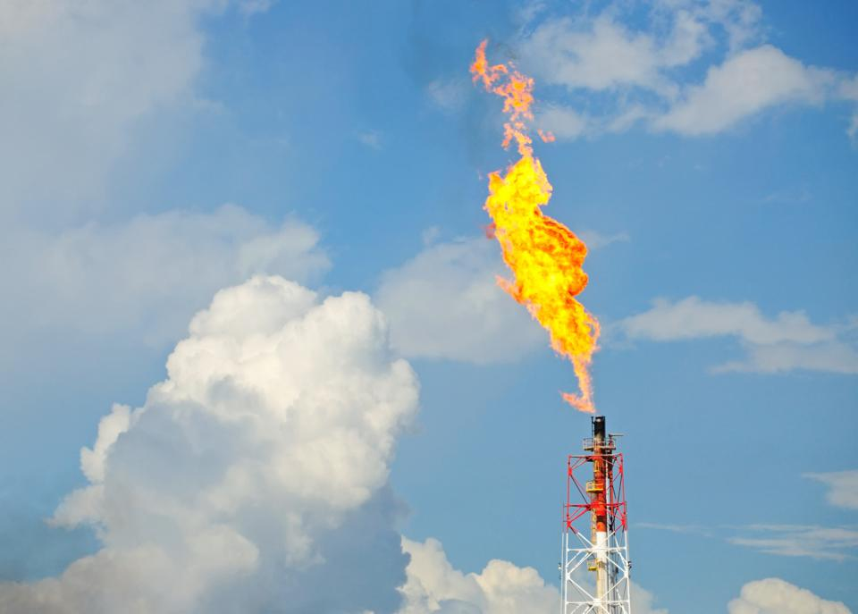 Flaring of natural gas in the Permian basin.