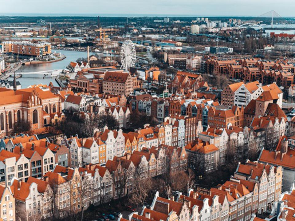 Aerial view of the old town of Gdansk, Poland