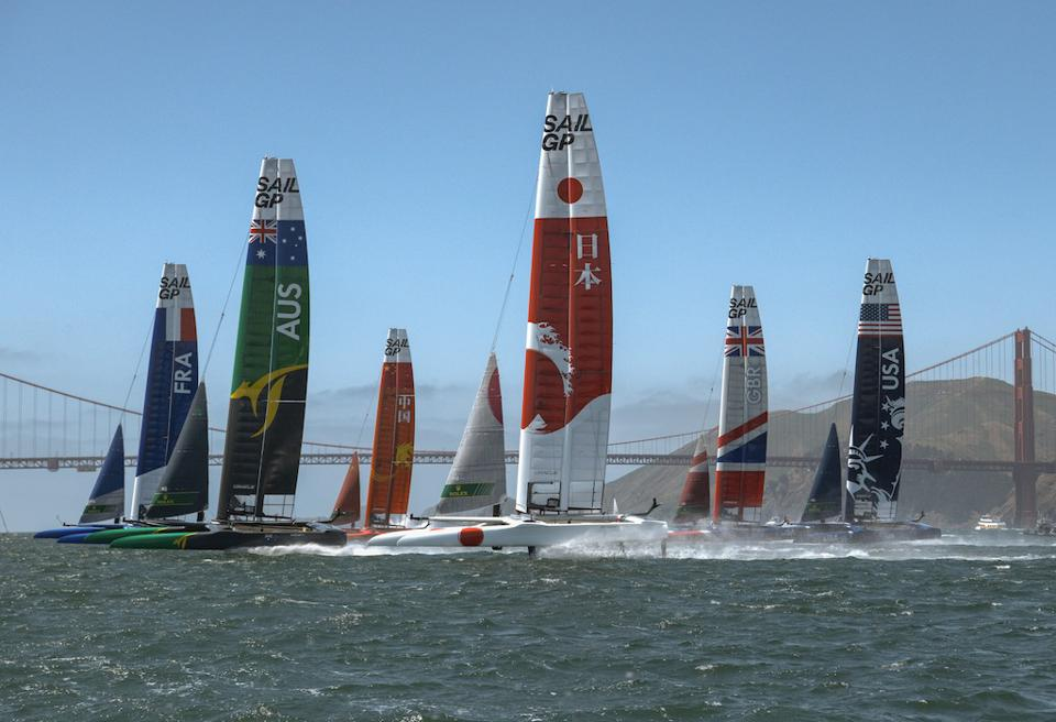 Six high-speed catamarans compete in San Francisco, against the backdrop of the Golden Gate Bridge.