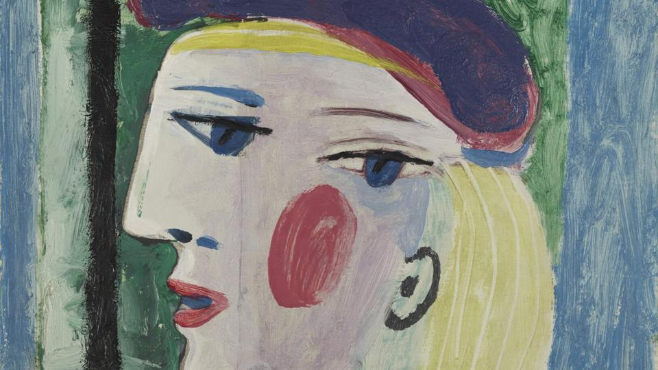 An abstract painting of a blonde woman wearing a purple beret.